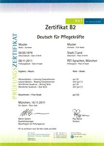PET-Sprachen Zertifikat B2 Deutsch für Pflegekräfte