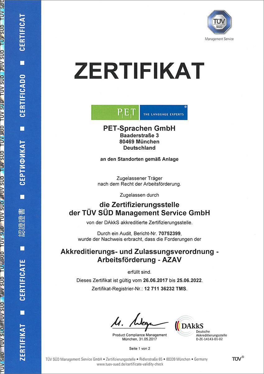 PET-Sprachen AZAV-Zertifikat