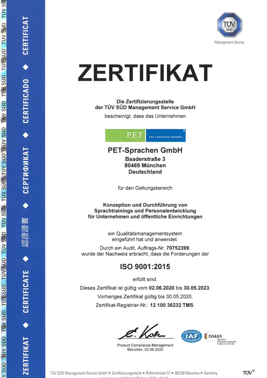 PET-Sprachen ISO 9001 Zertifikat